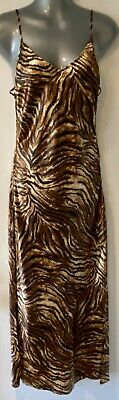 Victoria's Secret Animal Print Satin Laced-Up Sides Full Length Nightgown Small