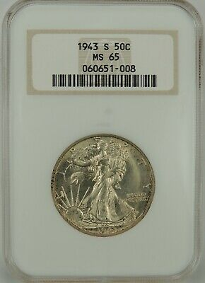 "1943-S 50C Walking Liberty Silver Half Dollar Ngc Ms65 #060651-008 ""Old Fatty"""