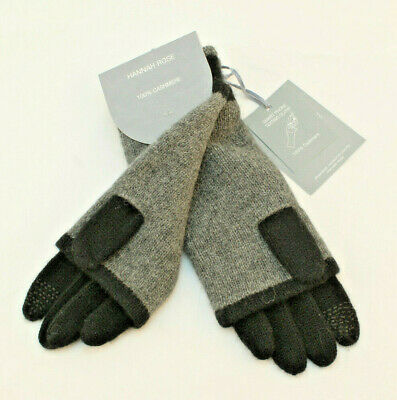 HANNAH ROSE 100% Cashmere 3 in1 Graphite Smart Phone Texting Glove RETAIL $70