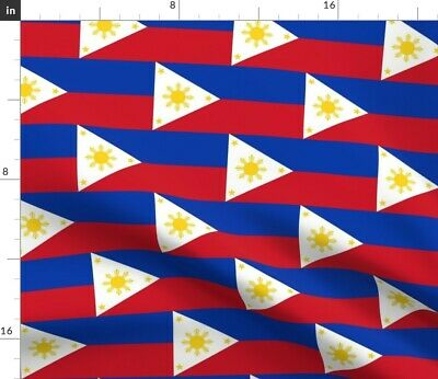 Filipino Flags National Stripes Emblem Colours Fabric Printed by Spoonflower BTY