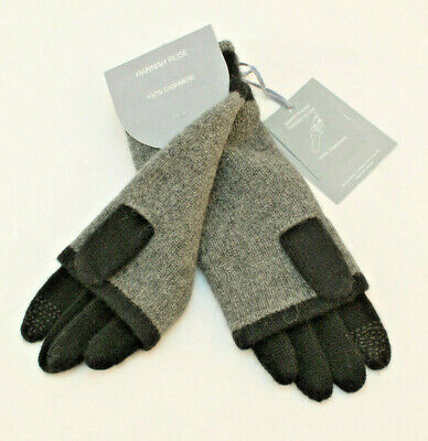 HANNAH ROSE 100% Cashmere 3 in 1 Gray Smart Phone Texting Gloves RETAIL $70