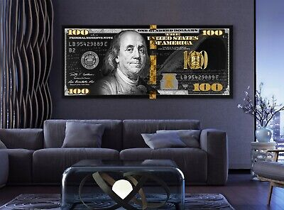 100 Dollar Bill Black & Gold Money Art Canvas Poster Print Art Decor Wall