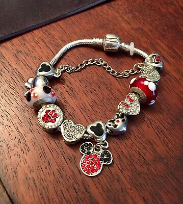 925 Sterling Silver Mickey & Minnie Mouse Disney Bracelet With 11 Charms Small