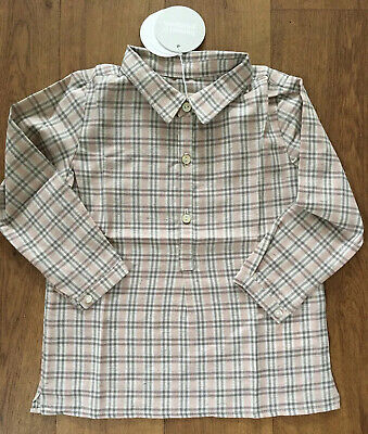 BNWT BONNET A POMPON GIRLS GREY & PINK LONG-SLEEVED CHECKED BLOUSE/ TOP - Age 2A