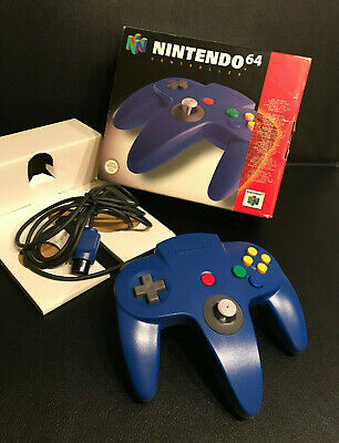 NINTENDO 64 OFFICIAL BLUE CONTROLLER BOXED WITH INSERT (Rare) Great Condition !!
