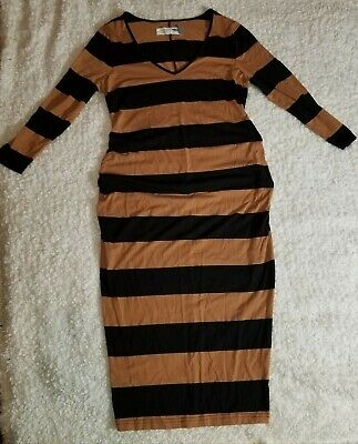 Old Navy Maternity Dress pencil Size SP Striped Brown/ black