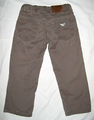 Boys AJ ARMANI JEANS JUNIOR Jeans Light Brown Zip Fly Straight Size 3A 100 cm