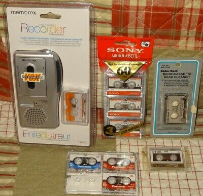 NEW Memorex MB2186A Micro Cassette Tape Recorder & 8 Microcassettes Head Cleaner