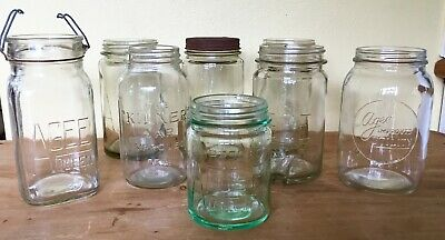 8 Vintage Mason Preserving Jars AGEE & Kilner 1950's Screw Top