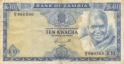 Zambia  10  Kwacha   ND. 1976  P 22  Series  20/D  Circulated  Banknote A33