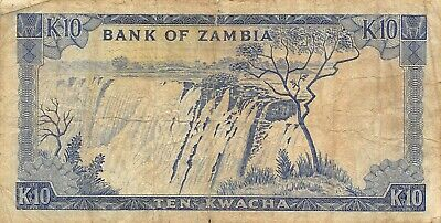 Zambia  10  Kwacha   ND. 1969  P 12a  Series  11/D  Circulated  Banknote A33