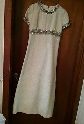 LATE 1960s FLOOR LENGTH HEAVILY BEADED GOWN.
