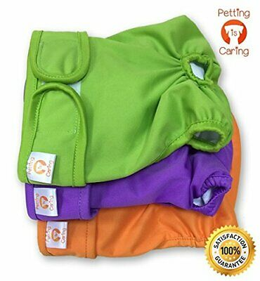 PETTING IS CARING Dog Diapers Washable & Reusable Female and Male Dog Diapers M