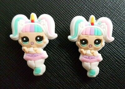2 x LOL Surprise Dolls Unicorn Shoe Charms PVC Rubber Holey Clogs shoes Charm
