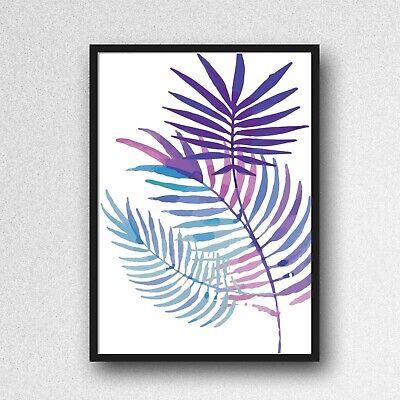 palm leafs leaves print PICTURE WALL ART A4 Botanical UNFRAMED blue purple 1