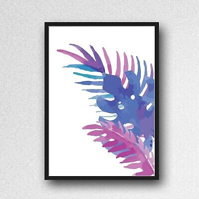 palm leafs leaves print PICTURE WALL ART A4 Botanical UNFRAMED blue purple 3