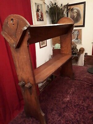 Antique C 1900 Arts & Crafts Art Nouveau Mission Oak Shelf Church Book Trough