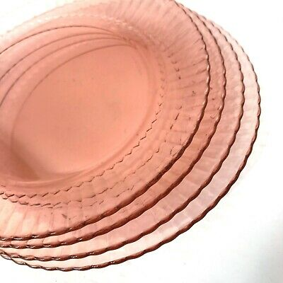 "4 Pink Depression Glass Dinner Plate 9.5"" SWIRL Pattern By Fortecrisa Mexico"