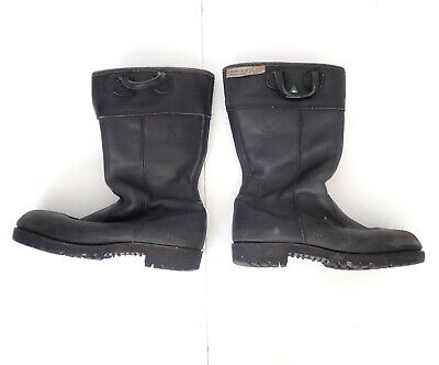 BLACK DIAMOND Black Leather Firefighter Work Construction Boots Steel Toe Shin 9