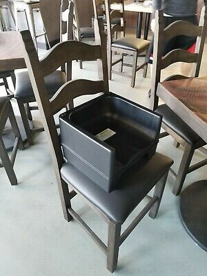 BLACK Dual Height Plastic NSF Stackable Restaurant Booster Seat Toddler Chair