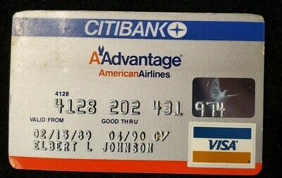 CityBank Visa American Airlines credit card expired 1990♡Free Shipping♡cc555