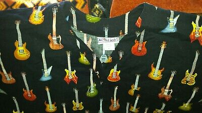 Mad About Scrubs! Colorful Guitars Extra-Large ( XL ) Scrub Top