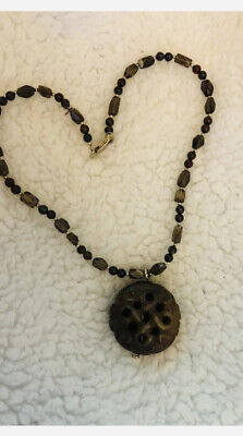 Old Chinese Hand Carved Jade hard stone vintage  antique pendant necklace Brown