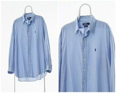 90s Vintage Mens POLO RALPH LAUREN Shirt Long Sleeve White Blue Checked Size 4XL