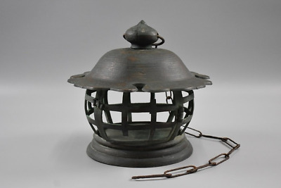 Japanese Antique Bronze Hanging Round Lantern with a Iron Chain