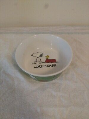 """Snoopy & Woodstock Peanuts Ceramic Pet Bowl Now What? More Please! 5.25"""" Gibson"""