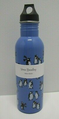 Vera Bradley Playful Penguins Blue Stainless Steel Water Bottle 25 Oz New