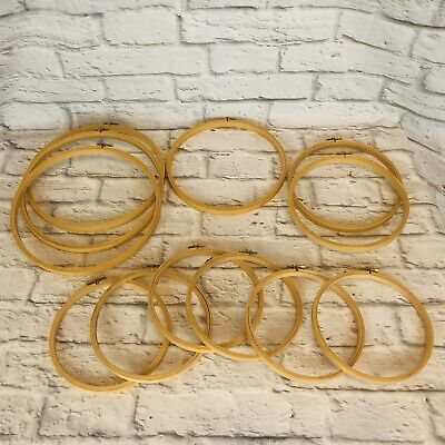 Lot of 12 Vintage Woolworths Wood Round Embroidery Hoops Screw Adjustment