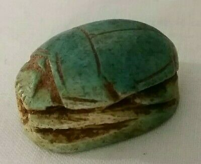 Scarab Egyptian Ancient Bc Stone Amulet Antique Carved Beetle Bead Rare Necklace