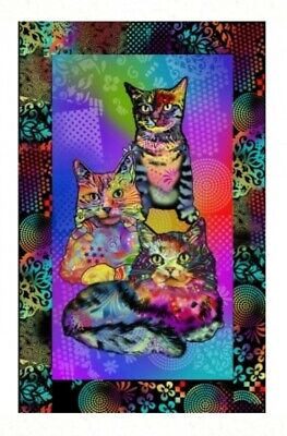Crazy Cats Quilt Panel * New * Cute Colourful Cats * Free Post *
