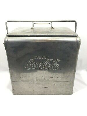 Vintage 1950's Embossed Coca Cola Stainless Steel Cooler Chest w/ Opener Large