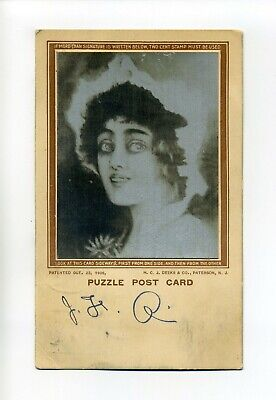 Antique Puzzle Postcard, Blinking Woman, H.C.J. Deeks & Co, 1908