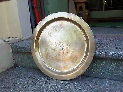 ANTIQUE Beautiful Vintage Brass LARGE HEAVY CHINESE Tray/plate