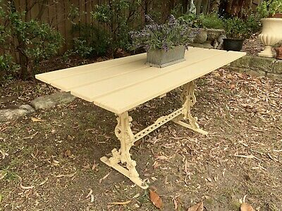Beautiful Antique Style Cast Metal Garden Table Timber Top~Figural