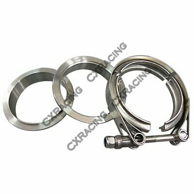 "2"" Self Aligning V-Band Vband Clamp Flange Kit Turbo Exhaust Stainless"