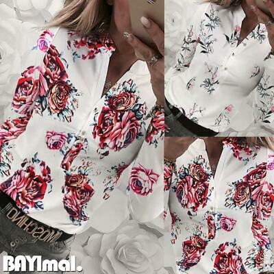 Womens Button V Neck Long Sleeve Shirts Ladies Casual Office Floral Blouse Tops