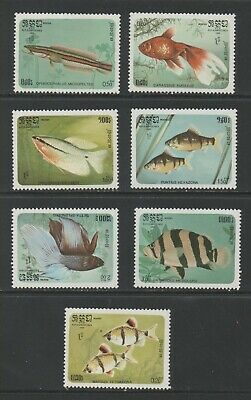 Thematic Stamps Animals - KAMPUCHEA 1985 FISHES 673/9 7v mint