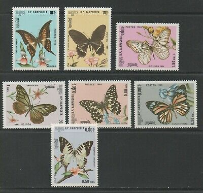 Thematic Stamps Animals - KAMPUCHEA 1986 BUTTERFLYS 727/33  7v mint