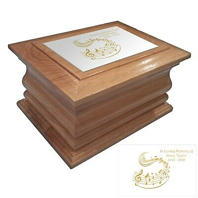 Wooden Cremation urn ashes casket Music personalised oak adult human funeral box