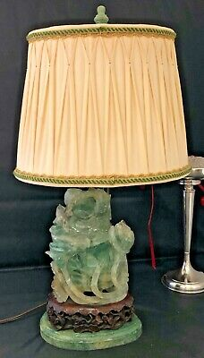 Old Chinese Nephrite Jade Carved urn custom lamp green