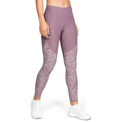 Under Armour Womens Vanish Printed Leggings Bottoms Pants Trousers Purple Sports