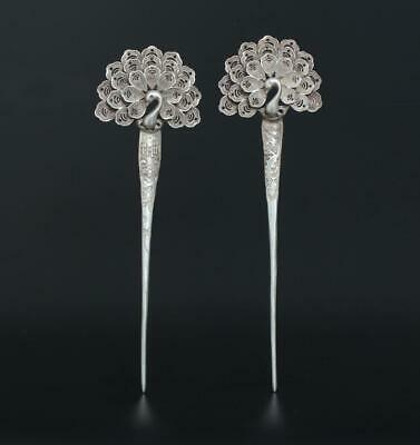 Two Old Fine Antique Chinese Carved Silver Hairpin
