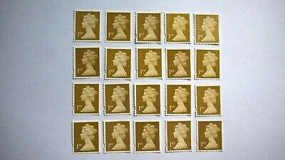 20 Unfranked Red First Class Security Stamps (Off Paper - No Gum) - Grade B