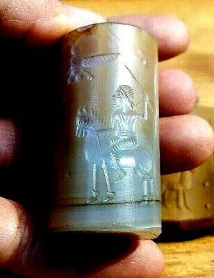 Ancient Agate Intaglio Fairy Life Scarab Phoenix man Holding Trident Roll Bead
