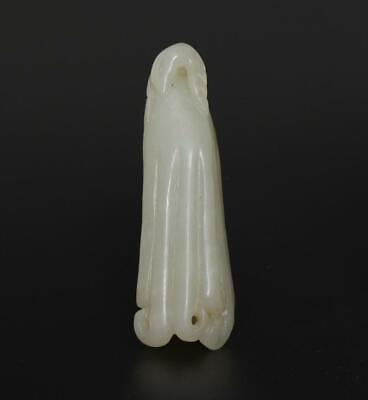 Antique Chinese Carved Natural Nephrite HeTian Jade Pendant With Buddha's hand