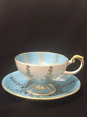 Amazing Aynsley Pedestal Baby Blue Gold Tea Cup Saucer Set 2878 Lovely